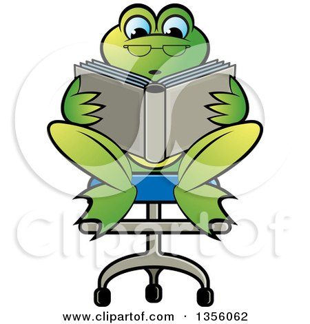 Clipart of a Cartoon Green Frog Sitting in a Chair and ...