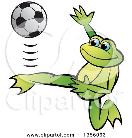 Clipart of a Cartoon Green Frog Kicking a Soccer Ball - Royalty Free Vector Illustration by Lal Perera