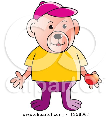 Clipart of a Cartoon Casual Teddy Bear Holding a Red Apple - Royalty Free Vector Illustration by Lal Perera