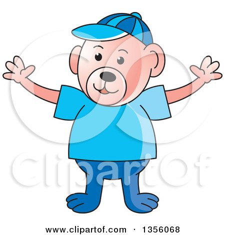 Clipart of a Cartoon Casual Teddy Bear with Open Arms - Royalty Free Vector Illustration by Lal Perera