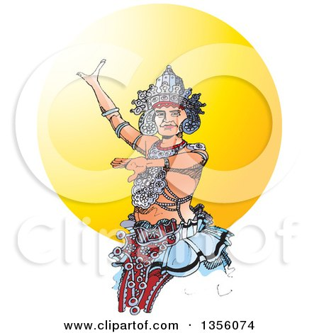 Clipart of a Kandyan Dancer Against the Sun - Royalty Free Vector Illustration by Lal Perera