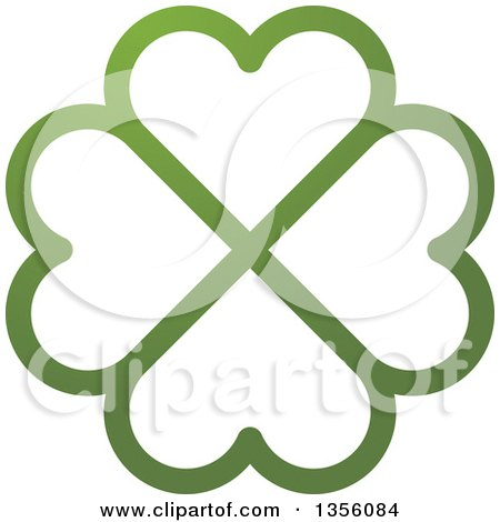 Clipart of a Flower Made of Green Heart Shaped Petals - Royalty Free Vector Illustration by Lal Perera