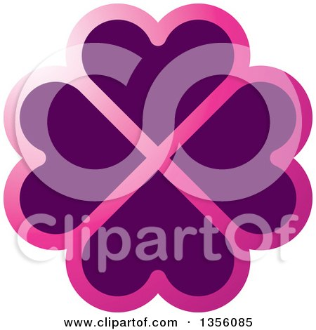 Clipart of a Flower Made of Gradient Pink and Purple Heart Shaped Petals - Royalty Free Vector Illustration by Lal Perera