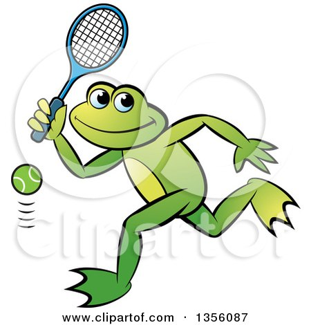 Clipart of a Cartoon Green Frog Playing Tennis - Royalty Free Vector Illustration by Lal Perera