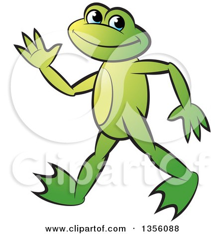 Clipart of a Cartoon Green Frog Walking and Waving - Royalty Free Vector Illustration by Lal Perera
