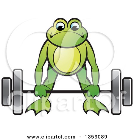 Clipart of a Cartoon Green Frog Bending to Lift a Heavy Barbell - Royalty Free Vector Illustration by Lal Perera