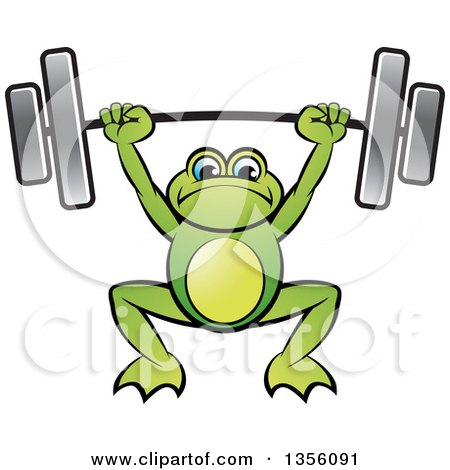 Clipart of a Cartoon Green Frog Holding a Heavy Barbell over His Head - Royalty Free Vector Illustration by Lal Perera