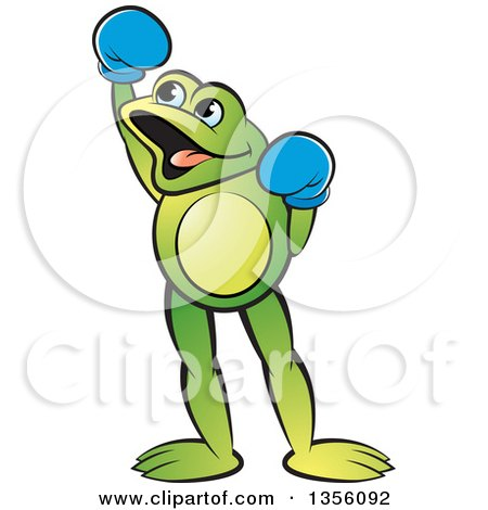 Clipart of a Cartoon Green Frog Boxer Cheering - Royalty Free Vector Illustration by Lal Perera