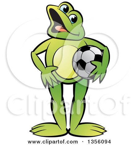 Clipart of a Cartoon Green Frog Holding a Soccer Ball - Royalty Free Vector Illustration by Lal Perera