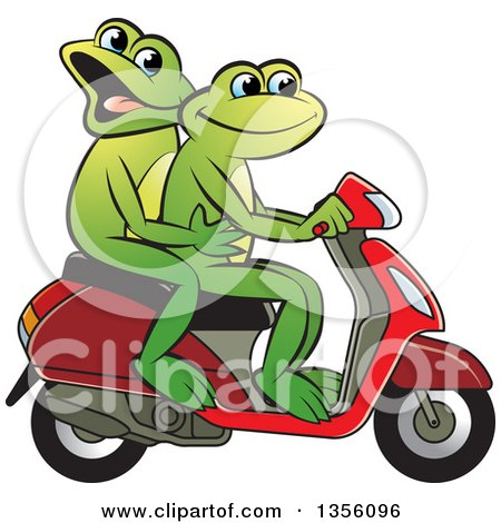 Clipart of Cartoon Green Frogs on a Scooter - Royalty Free Vector Illustration by Lal Perera