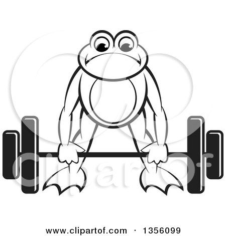Clipart of a Cartoon Black and White Frog Bending to Lift a Heavy Barbell - Royalty Free Vector Illustration by Lal Perera