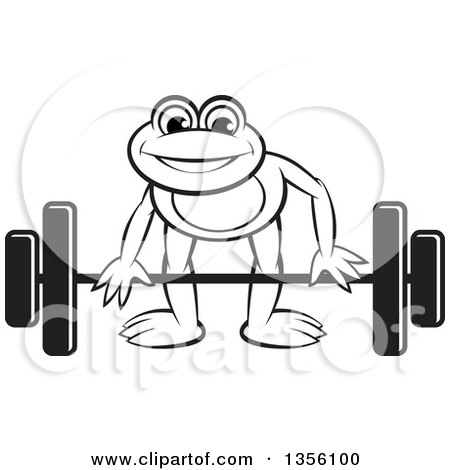 Clipart of a Cartoon Black and White Frog Bending to Lift a Barbell - Royalty Free Vector Illustration by Lal Perera