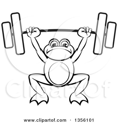 Clipart of a Cartoon Black and White Frog Holding a Heavy Barbell over His Head - Royalty Free Vector Illustration by Lal Perera