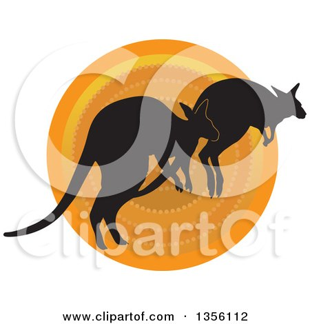 Clipart of Silhouetted Kangaroos Hopping over a Sunset - Royalty Free Vector Illustration by Maria Bell