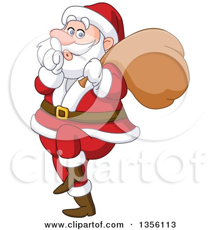 Clipart of a Cartoon Sneaky Santa Gesturing to Be Quiet - Royalty Free Vector Illustration by yayayoyo