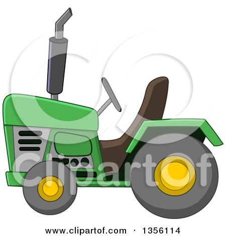 Clipart of a Cartoon Green Tractor - Royalty Free Vector Illustration by yayayoyo