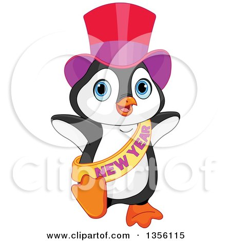 Clipart of a New Year Penguin Dancing - Royalty Free Vector Illustration by Pushkin