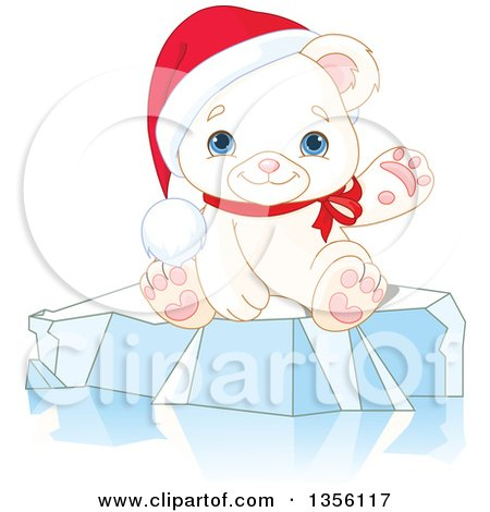 Clipart of a Cute Baby Polar Bear Cub Wearing a Christmas Santa Hat and Presenting or Waving on Ice - Royalty Free Vector Illustration by Pushkin