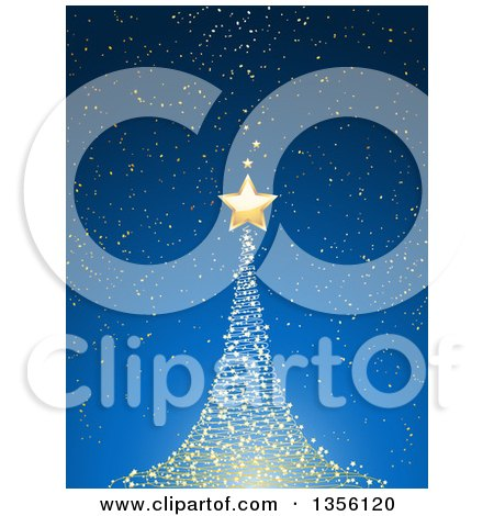 Magical Glowing Glowing Christmas Tree and Gold Star over Blue Posters, Art Prints
