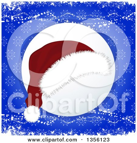 Clipart of a Christmas Santa Hat over a Shaded Circle on Blue Snowflakes and Grunge - Royalty Free Vector Illustration by elaineitalia