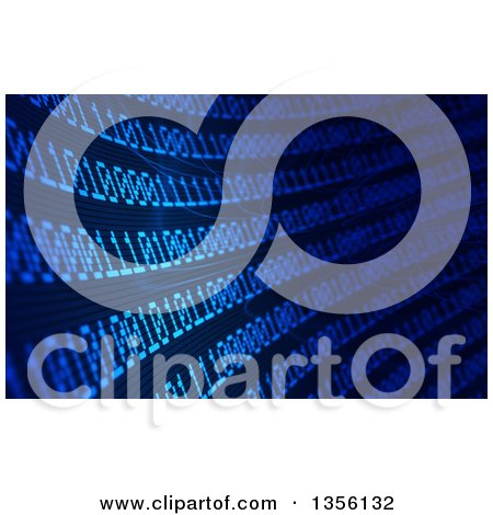 Clipart of a Blue Binary Code Curve Background - Royalty Free Illustration by Mopic