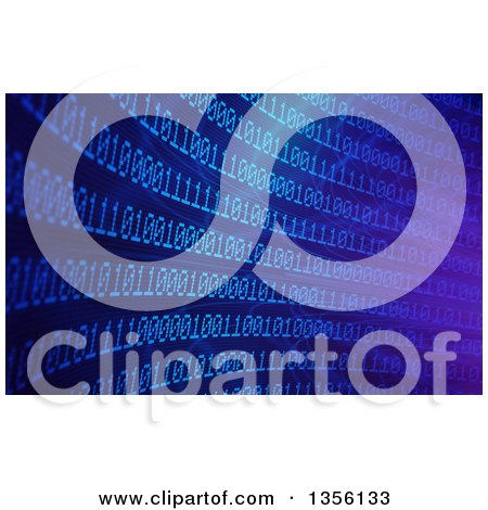 Clipart of a Blue Binary Code Curve and Flare Background - Royalty Free Illustration by Mopic