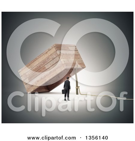Clipart of a 3d Businessman by a Large Trap - Royalty Free Illustration by Mopic