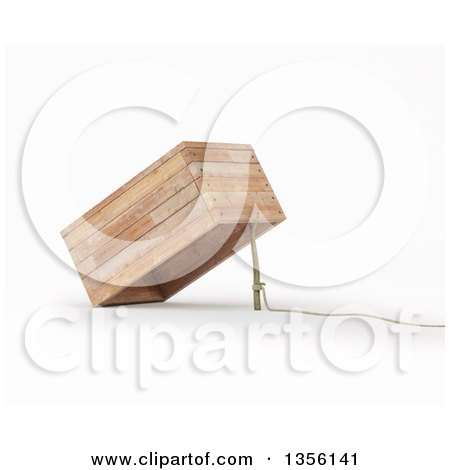 Clipart of a 3d Rope, Stick and Box Trap, on a White Background - Royalty Free Illustration by Mopic