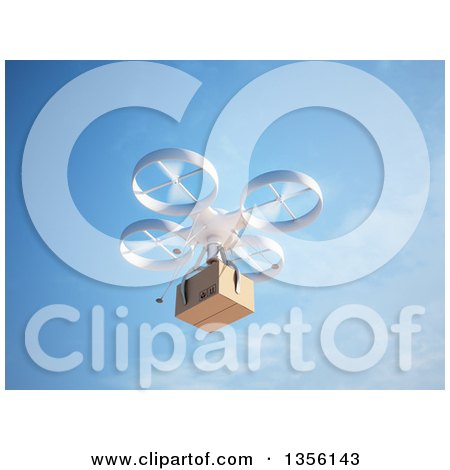 Clipart of a 3d RC Quadcopter Drone Flying with a Package Against Blue Sky - Royalty Free Illustration by Mopic