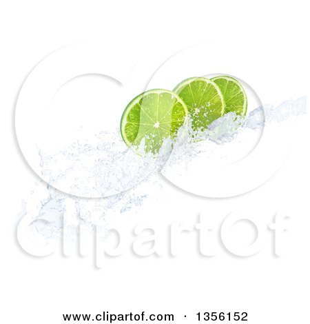 Clipart of 3d Lime Slices on a Water Splash, on a White Background - Royalty Free Illustration by Mopic