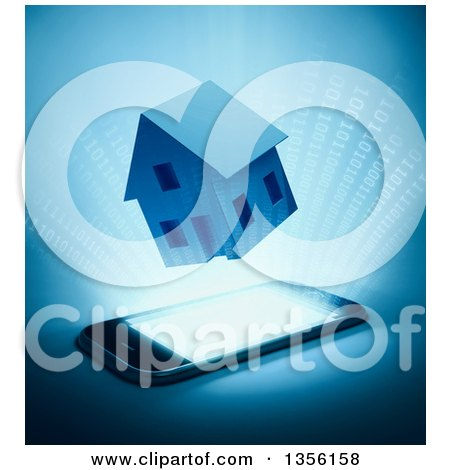 Clipart of a 3d House and Binary Code Emerging from a Smart Phone, on Blue - Royalty Free Illustration by Mopic