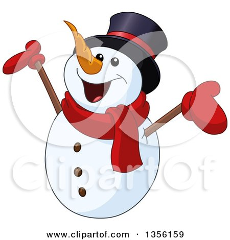 Clipart of a Cartoon Cheering Snowman Holding up His Arms - Royalty Free Vector Illustration by yayayoyo