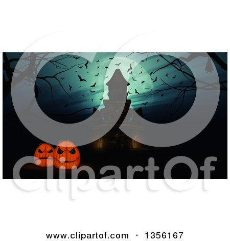 Clipart of a 3d Silhouetted Haunted Halloween Castle and Jackolantern Pumpkins Against a Full Moon, with Bats and Bare Branches - Royalty Free Illustration by KJ Pargeter