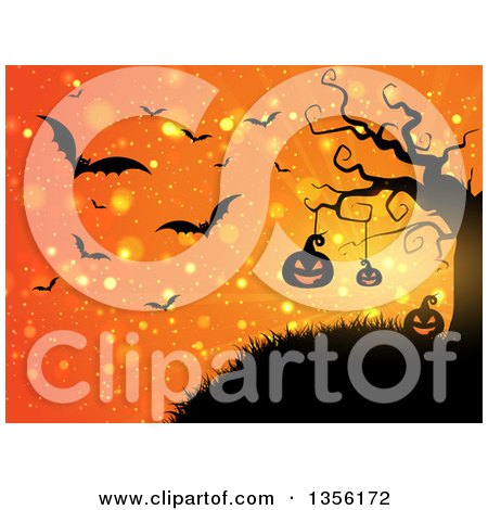 Clipart of a Halloween Background of Illuminated Silhouetted Jackolantern Pumpkins Hanging from a Tree, Against an Orange Bokeh Burst Sky with Vampire Bats - Royalty Free Vector Illustration by KJ Pargeter