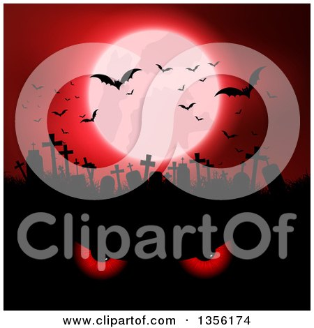 Clipart of a Red Full Moon with Vampire Bats over a Silhouetted Cemetery and Evil Eyes - Royalty Free Vector Illustration by KJ Pargeter