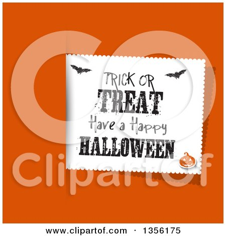 Clipart of a Trick or Treat Have a Happy Halloween Greeting Label with Bats and a Jackolantern over Orange - Royalty Free Vector Illustration by KJ Pargeter