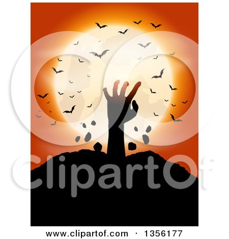 Clipart of a Silhouetted Zombie Hand Rising from the Grave Against a Full Moon with Vampire Bats on Orange - Royalty Free Vector Illustration by KJ Pargeter
