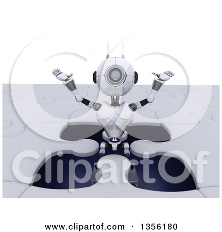 Clipart of a 3d Futuristic Robot Popping out of a Giant Jigsaw Puzzle, on a Shaded White Background - Royalty Free Illustration by KJ Pargeter