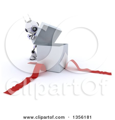 Clipart of a 3d Futuristic Robot Opening a Gift, on a Shaded White Background - Royalty Free Illustration by KJ Pargeter