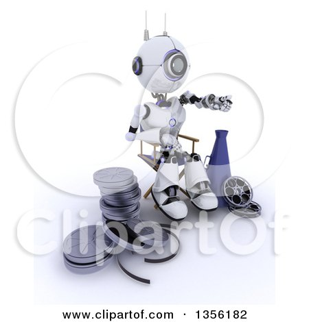 Clipart of a 3d Futuristic Robot Movie Director Pointing, Sitting in a Chair by a Bullhorn and Film Reels, on a Shaded White Background - Royalty Free Illustration by KJ Pargeter
