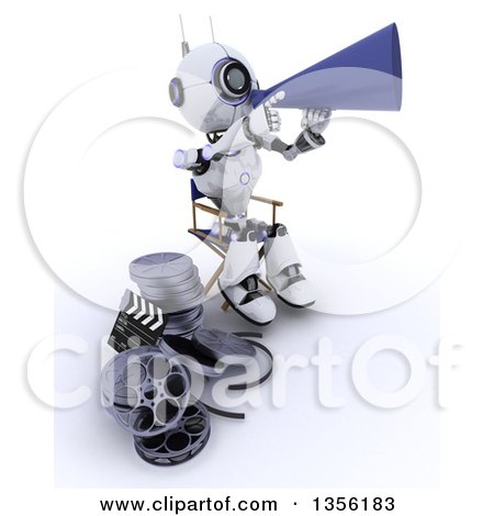 Clipart of a 3d Futuristic Robot Movie Director Using a Bull Horn and Sitting in a Chair by Film Reels, on a Shaded White Background - Royalty Free Illustration by KJ Pargeter