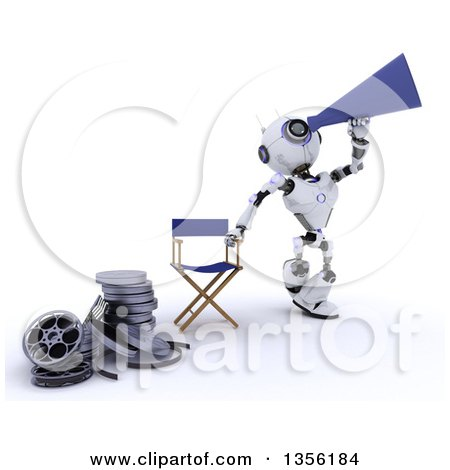 Clipart of a 3d Futuristic Robot Movie Director Using a Bull Horn by a Chair and Film Reels, on a Shaded White Background - Royalty Free Illustration by KJ Pargeter
