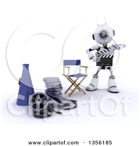 Clipart of a 3d Futuristic Robot Movie Director Using a Clapper by a Chair, Bull Horn and Film Reels, on a Shaded White Background - Royalty Free Illustration by KJ Pargeter