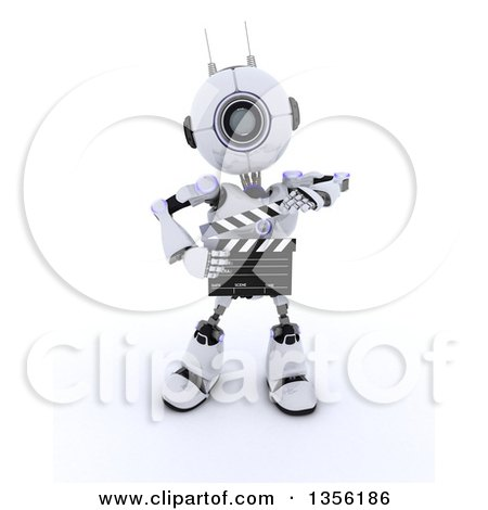 Clipart of a 3d Futuristic Robot Movie Director Using a Clapper Board, on a Shaded White Background - Royalty Free Illustration by KJ Pargeter
