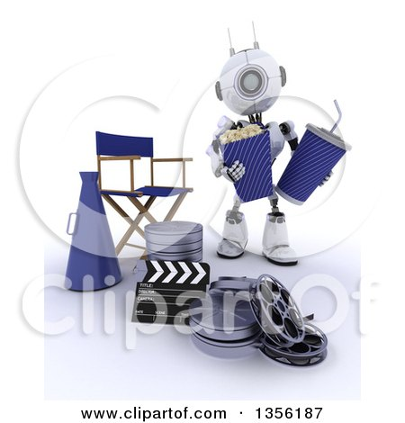 Clipart of a 3d Futuristic Robot Holding Popcorn and a Soda by a Directors Chair, Movie Reels and a Bullhorn, on a Shaded White Background - Royalty Free Illustration by KJ Pargeter
