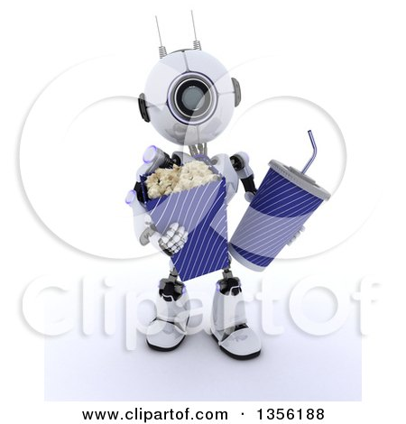 Clipart of a 3d Futuristic Robot Carrying Movie Popcorn and a Fountain Soda, on a Shaded White Background - Royalty Free Illustration by KJ Pargeter