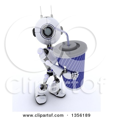 Clipart of a 3d Futuristic Robot Carrying a Giant Fountain Soda, on a Shaded White Background - Royalty Free Illustration by KJ Pargeter