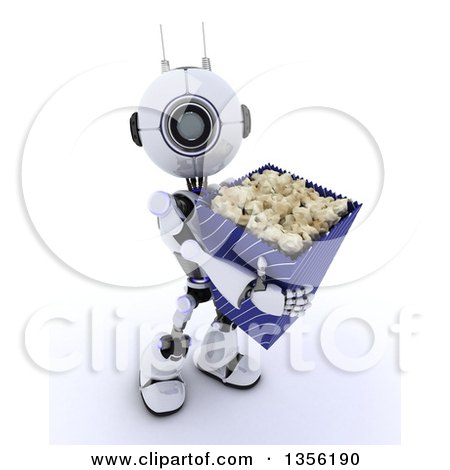Clipart of a 3d Futuristic Robot Carrying a Giant Bucket of Popcorn, on a Shaded White Background - Royalty Free Illustration by KJ Pargeter