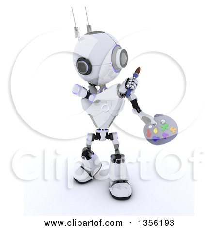 Clipart of a 3d Futuristic Robot Holding a Paintbrush and Palette, on a Shaded White Background - Royalty Free Illustration by KJ Pargeter