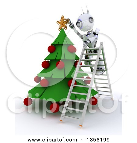 Clipart of a 3d Futuristic Robot Standing on a Ladder and Decorating a Christmas Tree, on a Shaded White Background - Royalty Free Illustration by KJ Pargeter